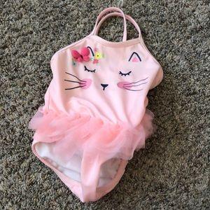 Gymboree cat light pink swim suit with ruffle
